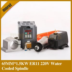 1.5kw Spindle Motor Water Cooled Spindle & 1500W VFD & 65mm clamp & cooling Water pump & 13pcs er11 For CNC Milling