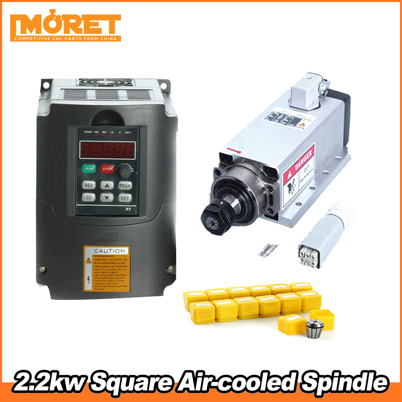 Square 2.2KW ER20 Air Cooled Spindle Motor 4 Bearing 24000rpm for CNC Router〖US〗