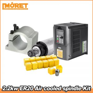 2.2KW Air Cooled Spindle Kit CNC 2.2KW Machine Tool Spindle Motor   220V Inveter   80mm Clamp   13pcs ER20 Collet