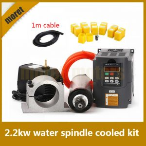 2.2KW Water Cooled Spindle Kit CNC Milling Spindle Motor   2.2KW VFD   80mm Clamp   Water Pump Water Pipe  13pcs ER20