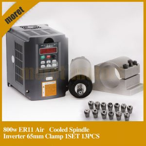 CNC Router Spindle 800W Air Cooled Spindle Kit 0.8KW Motor + 1.5KW 220V Inverter 65mm Clamp 13pcs ER11 Collet