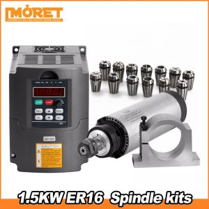 CNC Router Spindle Motor Kit 1.5KW air Spindle Tool Milling Machine 220V/1.5KW Interver   ER16(1-10mm)   80mm Clamp  water pump